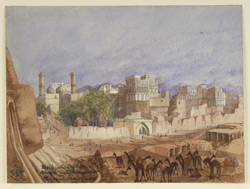 Taxila gate and city of Peshawar (N.W.F.P.); camels in foreground. 20 March 1879
